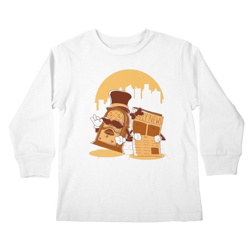 Old Timer's Stroll Kids Longsleeve T-Shirt by monochromefrog