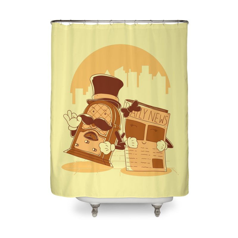 Old Timer's Stroll Home Shower Curtain by monochromefrog