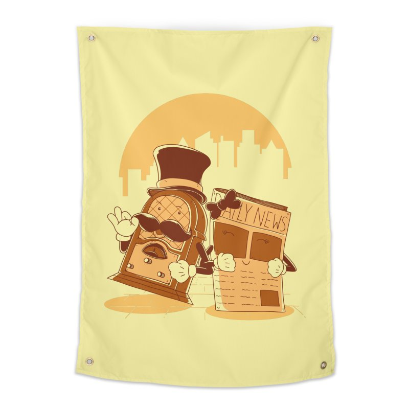 Old Timer's Stroll Home Tapestry by monochromefrog