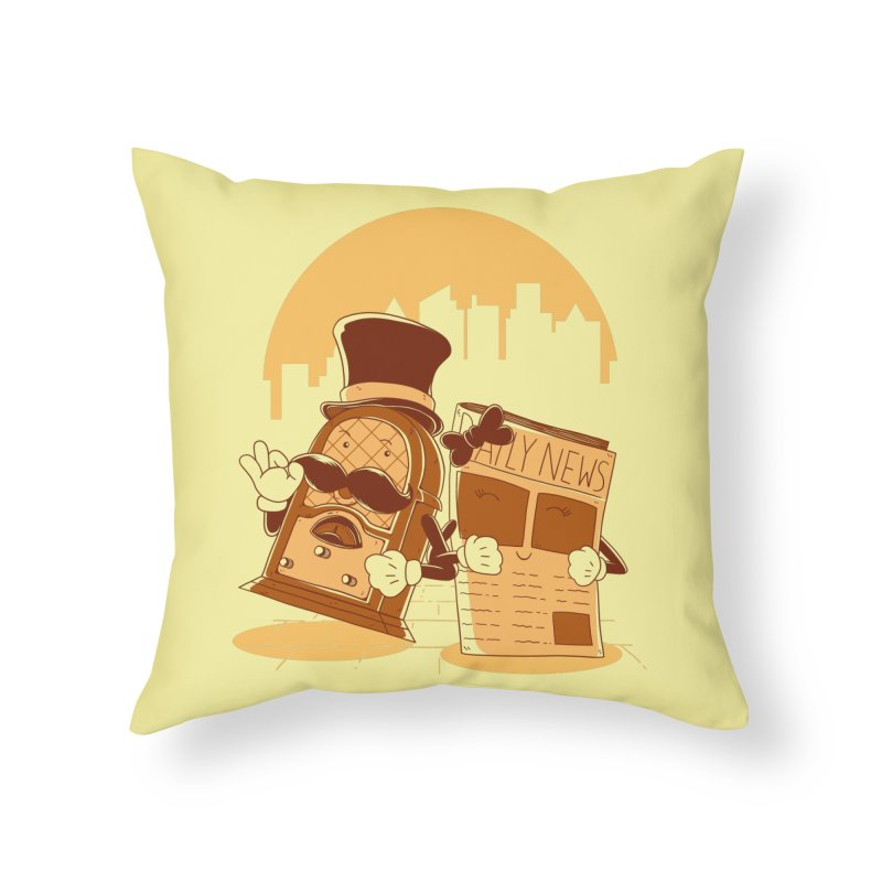 Old Timer's Stroll Home Throw Pillow by monochromefrog