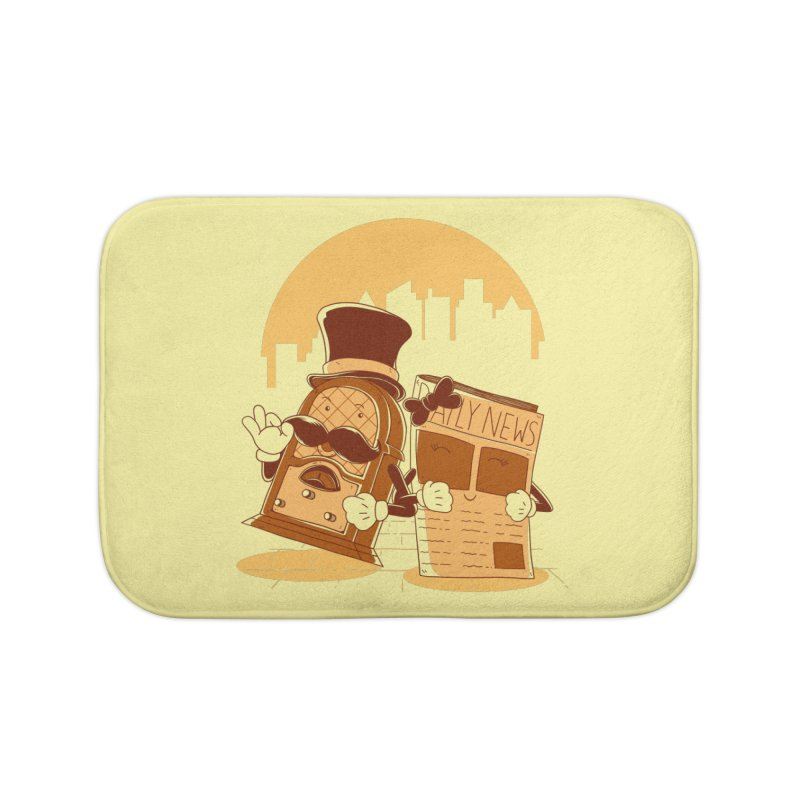 Old Timer's Stroll Home Bath Mat by monochromefrog