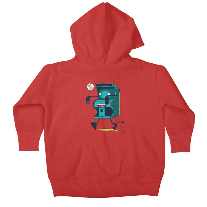 Zombie Arcade Kids Baby Zip-Up Hoody by monochromefrog