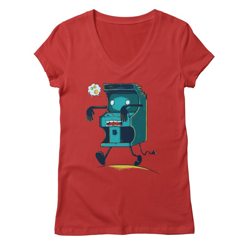 Zombie Arcade Women's Regular V-Neck by monochromefrog