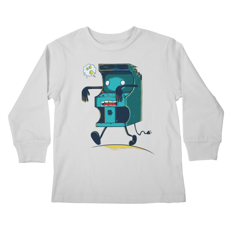Zombie Arcade Kids Longsleeve T-Shirt by monochromefrog