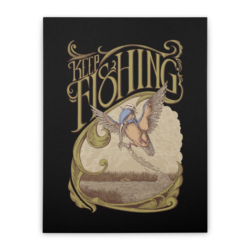 Fishing King Home Stretched Canvas by monochromefrog