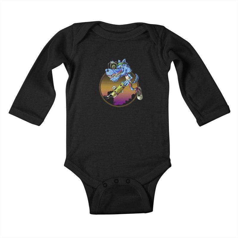 Air Wolf Kids Baby Longsleeve Bodysuit by monochromefrog
