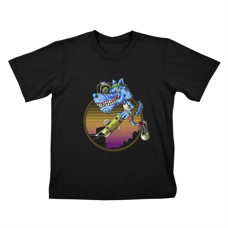 Air Wolf Kids T-Shirt by monochromefrog