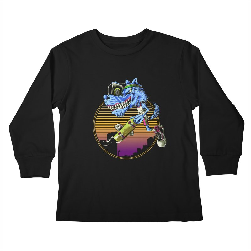 Air Wolf Kids Longsleeve T-Shirt by monochromefrog