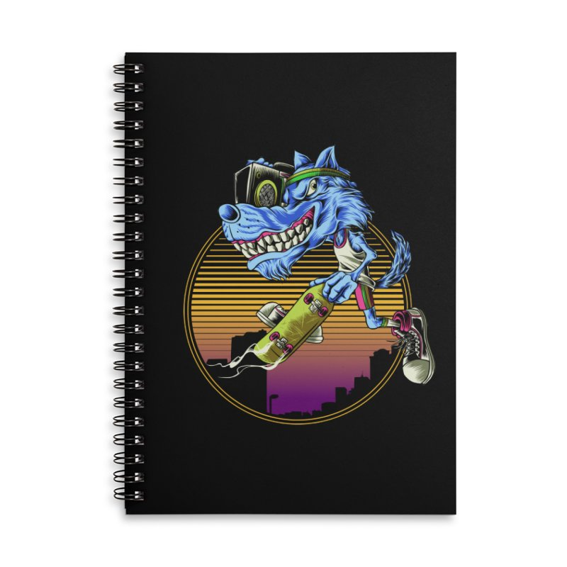 Air Wolf Accessories Lined Spiral Notebook by monochromefrog
