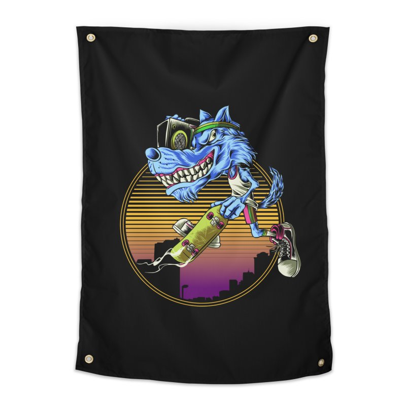 Air Wolf Home Tapestry by monochromefrog