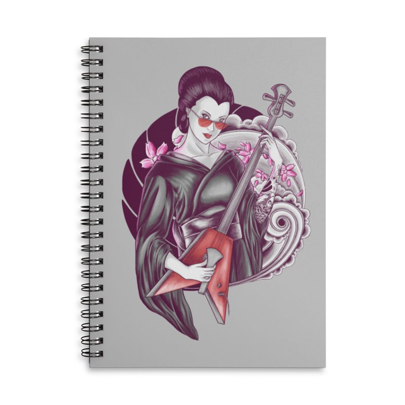 Let's Rock! Accessories Lined Spiral Notebook by monochromefrog