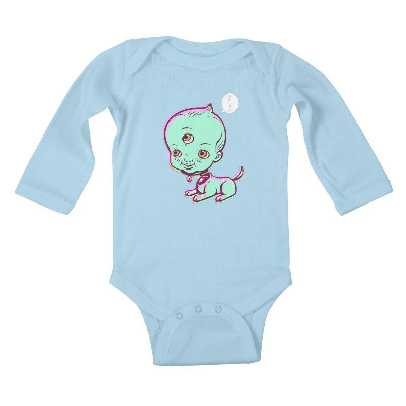 Puppy Kids Baby Longsleeve Bodysuit by monoestudio's Artist Shop