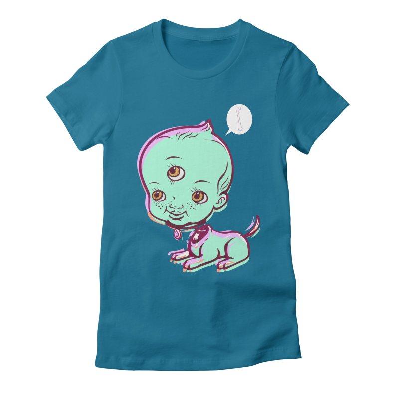 Puppy Women's Fitted T-Shirt by monoestudio's Artist Shop