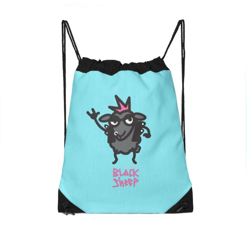 Black Sheep Accessories Drawstring Bag Bag by monoestudio's Artist Shop