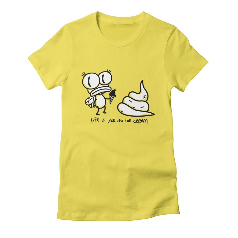 Fly in Women's Fitted T-Shirt Vibrant Yellow by monoestudio's Artist Shop
