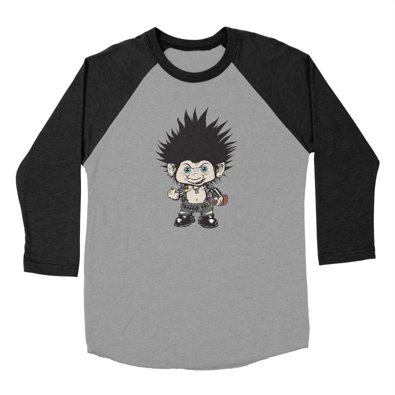 Troll in Men's Baseball Triblend Longsleeve T-Shirt Heather Onyx Sleeves by monoestudio's Artist Shop