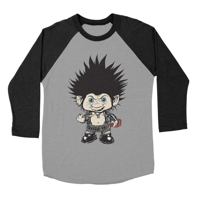 Troll in Men's Baseball Triblend T-Shirt Heather Onyx Sleeves by monoestudio's Artist Shop
