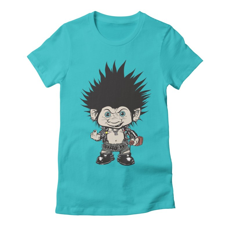 Troll in Women's Fitted T-Shirt Pacific Blue by monoestudio's Artist Shop