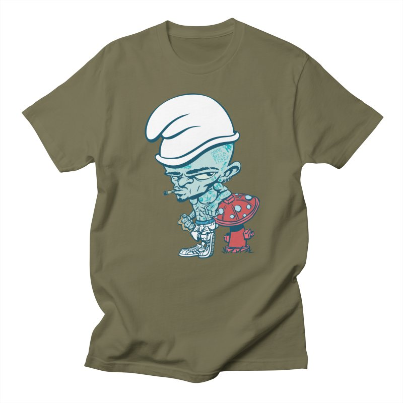 Smurf in Men's Regular T-Shirt Olive by monoestudio's Artist Shop