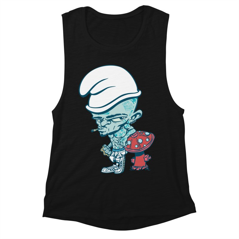 Smurf in Women's Muscle Tank Black Slub by monoestudio's Artist Shop