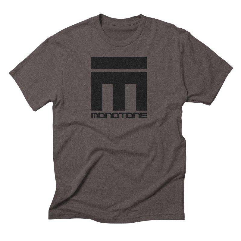 Monotone Logo Black Large Men's Triblend T-Shirt by Monotone Apparel