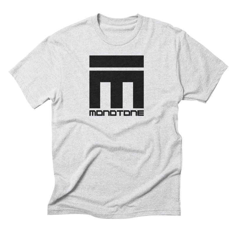 Monotone Logo Black Large in Men's Triblend T-Shirt Heather White by Monotone Apparel