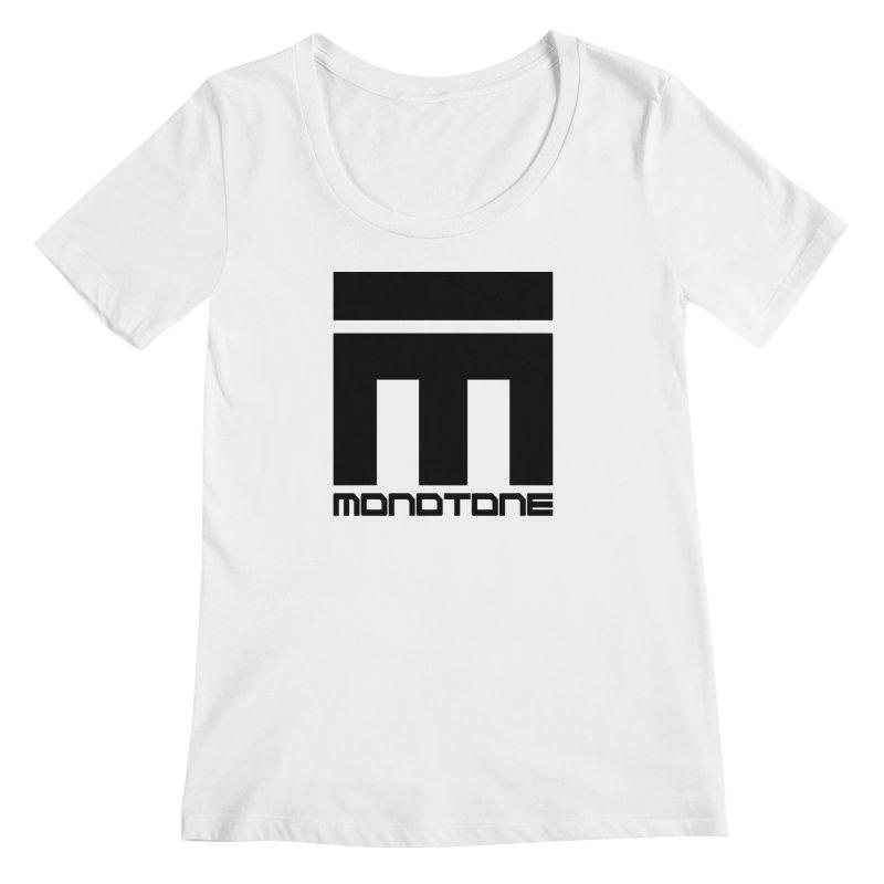 Monotone Logo Black Large Women's Regular Scoop Neck by Monotone Apparel