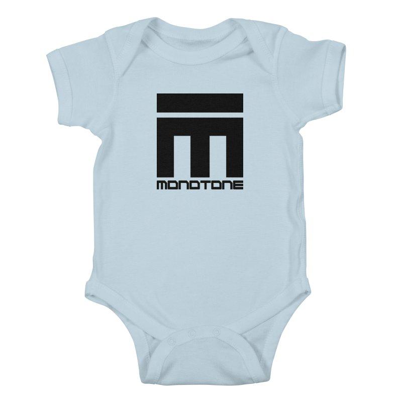 Monotone Logo Black Large Kids Baby Bodysuit by Monotone Apparel