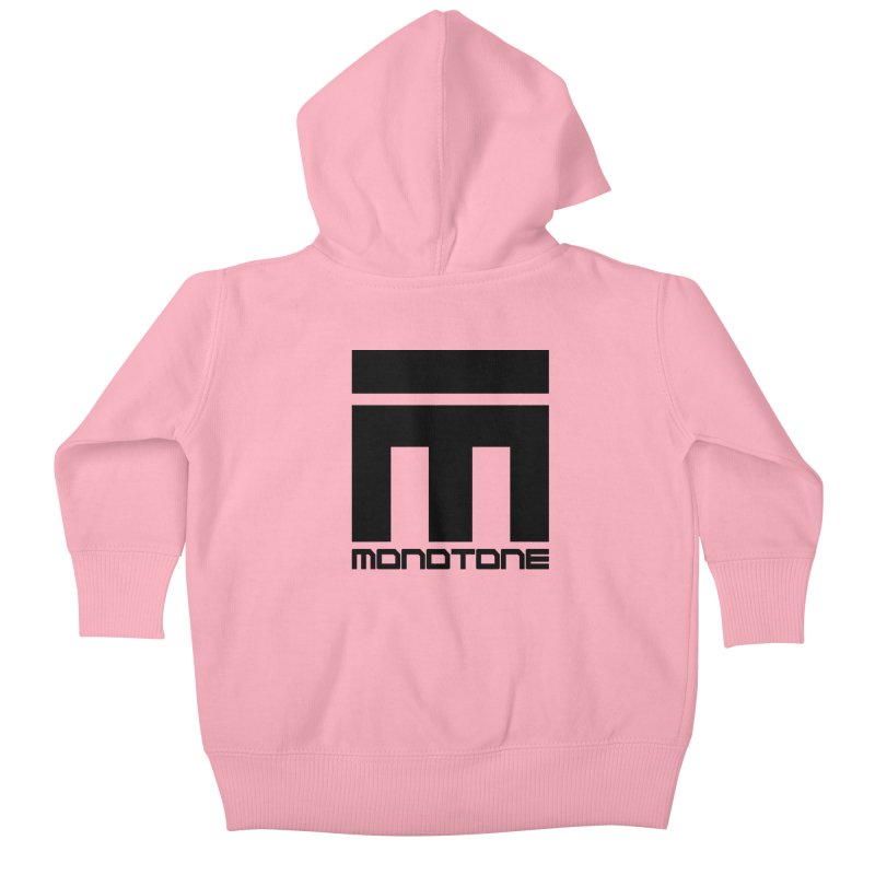Monotone Logo Black Large Kids Baby Zip-Up Hoody by Monotone Apparel