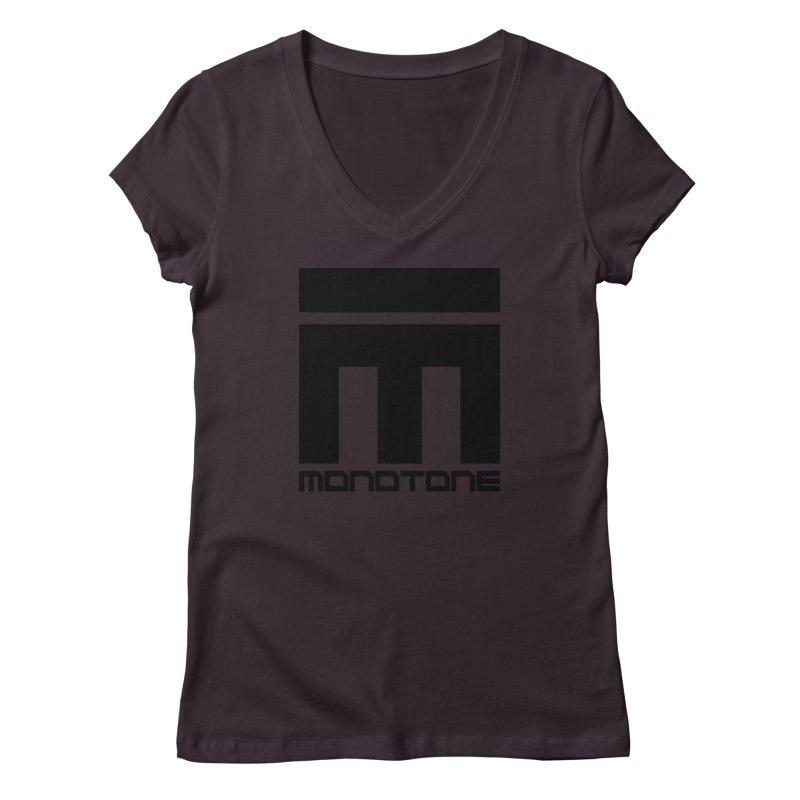 Monotone Logo Black Large Women's Regular V-Neck by Monotone Apparel