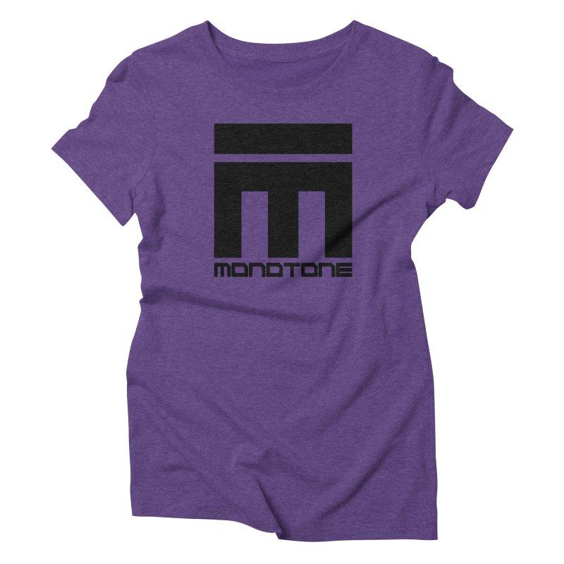 Monotone Logo Black Large Women's Triblend T-Shirt by Monotone Apparel