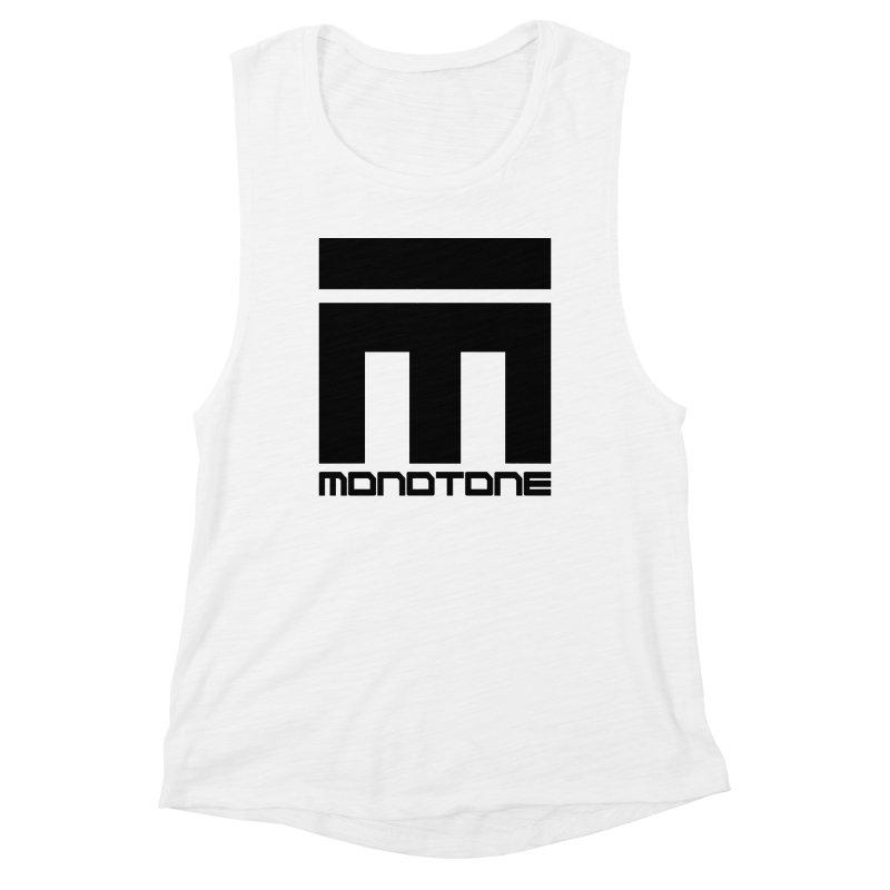 Monotone Logo Black Large Women's Muscle Tank by Monotone Apparel
