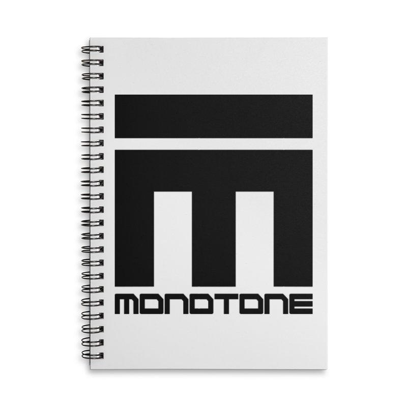 Monotone Logo Black Large Accessories Lined Spiral Notebook by Monotone Apparel