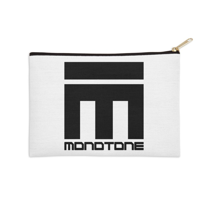 Monotone Logo Black Large Accessories Zip Pouch by Monotone Apparel