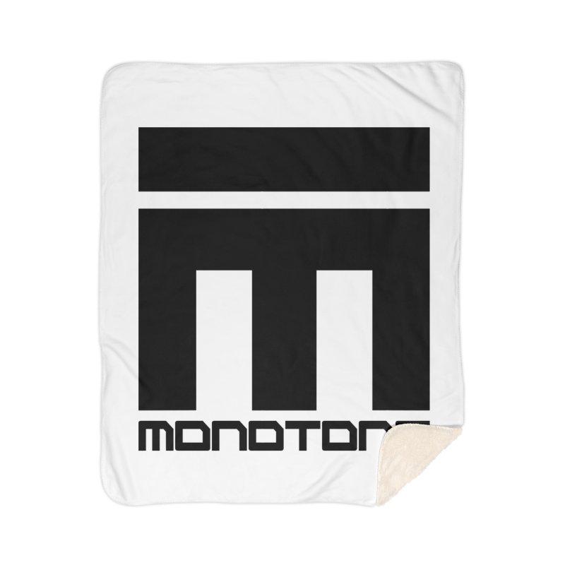 Monotone Logo Black Large Home Sherpa Blanket Blanket by Monotone Apparel