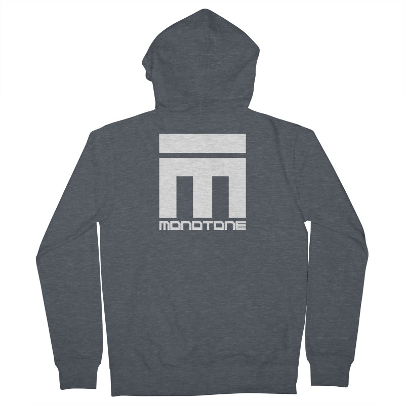 Monotone White Logo Large Women's French Terry Zip-Up Hoody by Monotone Apparel
