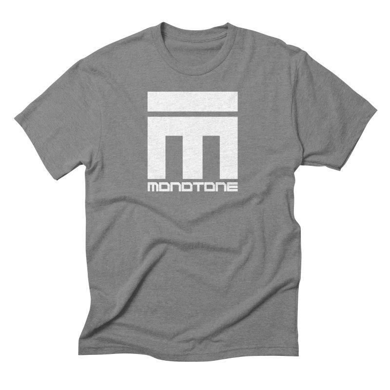 Monotone White Logo Large Men's Triblend T-Shirt by Monotone Apparel