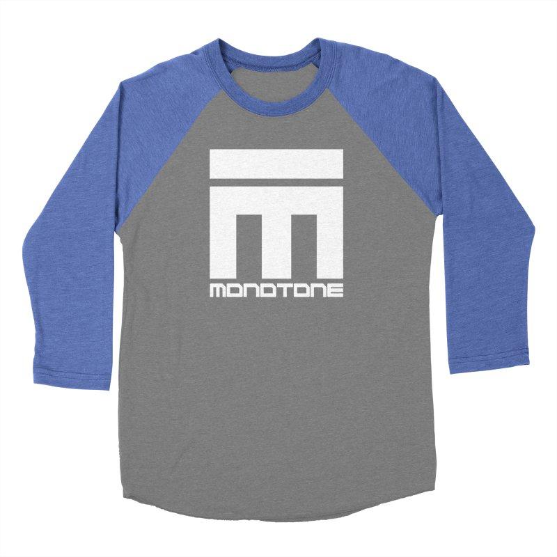 Monotone White Logo Large Women's Baseball Triblend Longsleeve T-Shirt by Monotone Apparel