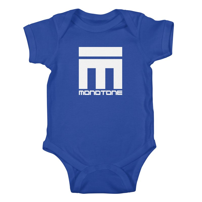 Monotone White Logo Large Kids Baby Bodysuit by Monotone Apparel