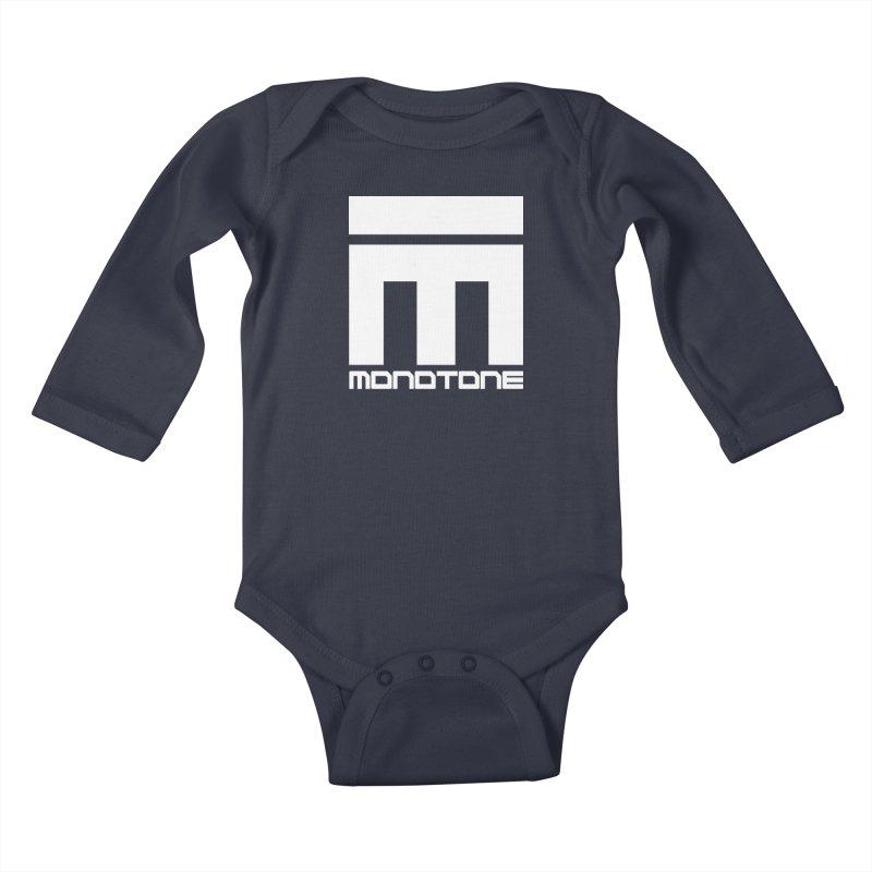 Monotone White Logo Large Kids Baby Longsleeve Bodysuit by Monotone Apparel