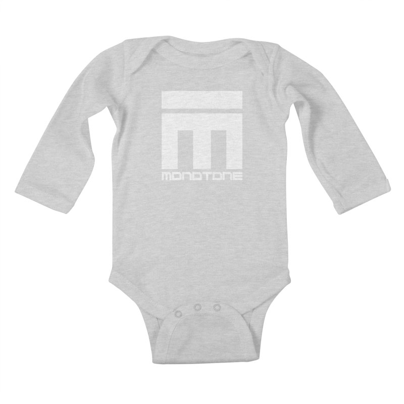 Monotone White Logo Large Kids Baby Longsleeve Bodysuit by Monotone Apparel