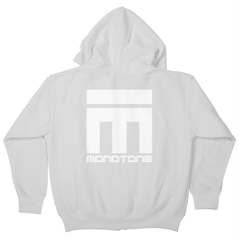 Monotone White Logo Large Kids Zip-Up Hoody by Monotone Apparel