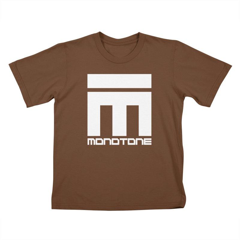 Monotone White Logo Large Kids T-Shirt by Monotone Apparel