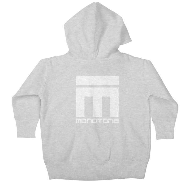 Monotone White Logo Large Kids Baby Zip-Up Hoody by Monotone Apparel