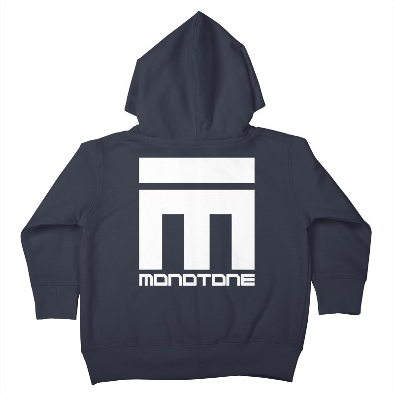 Monotone White Logo Large Kids Toddler Zip-Up Hoody by Monotone Apparel