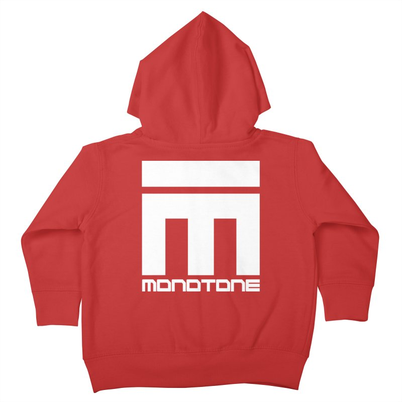 Monotone White Logo Large Kids Toddler Zip-Up Hoody by Monotone Apparel
