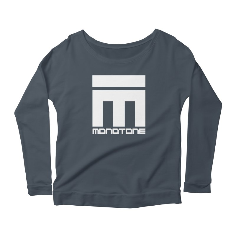 Monotone White Logo Large Women's Scoop Neck Longsleeve T-Shirt by Monotone Apparel