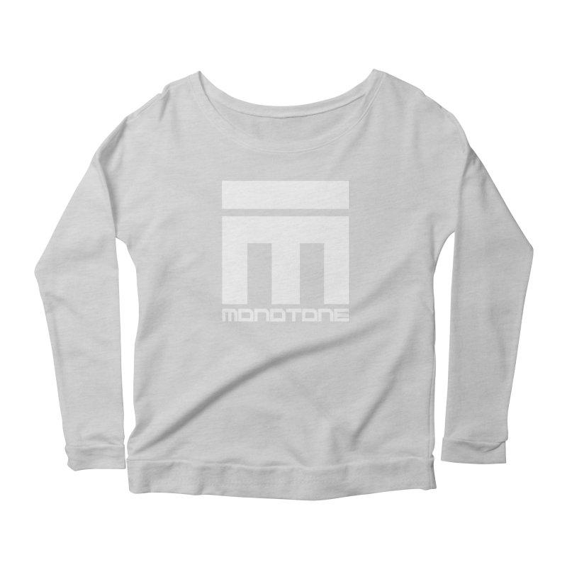 Monotone White Logo Large Women's Scoop Neck Longsleeve T-Shirt by Monotone Apparel