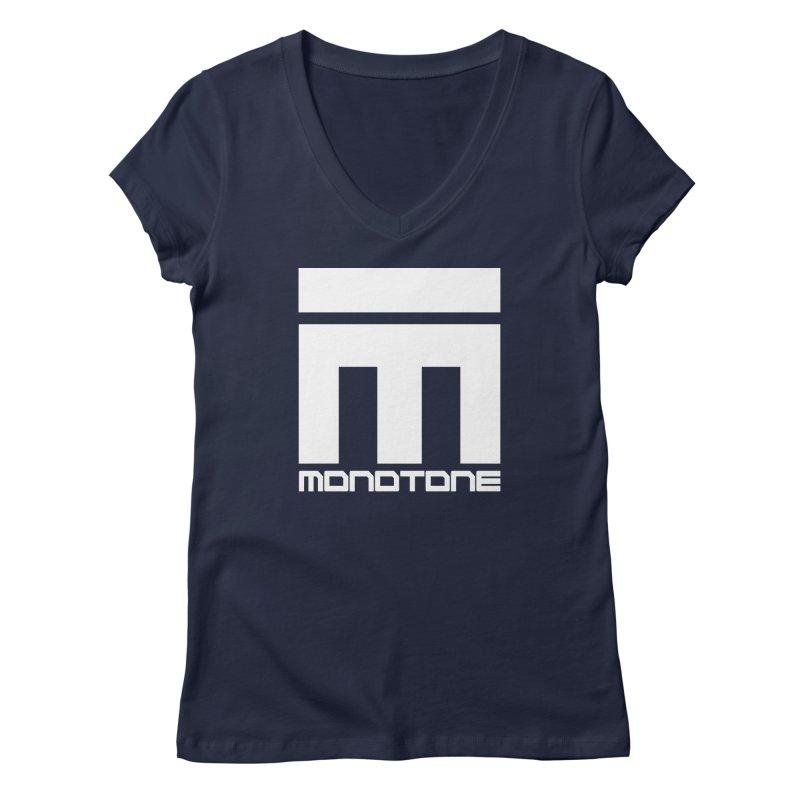 Monotone White Logo Large Women's Regular V-Neck by Monotone Apparel