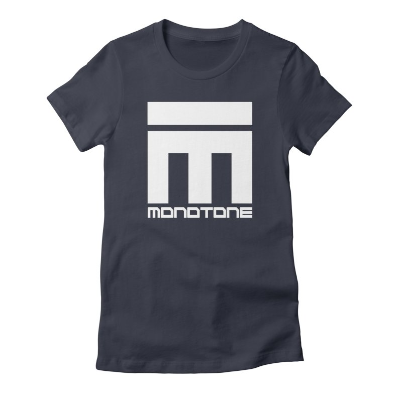 Monotone White Logo Large Women's Fitted T-Shirt by Monotone Apparel